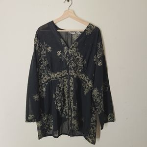 Vintage Plus Size Black Sheer Oversize Blouse